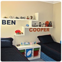 Bold name stickers, would look awesome in the boys room