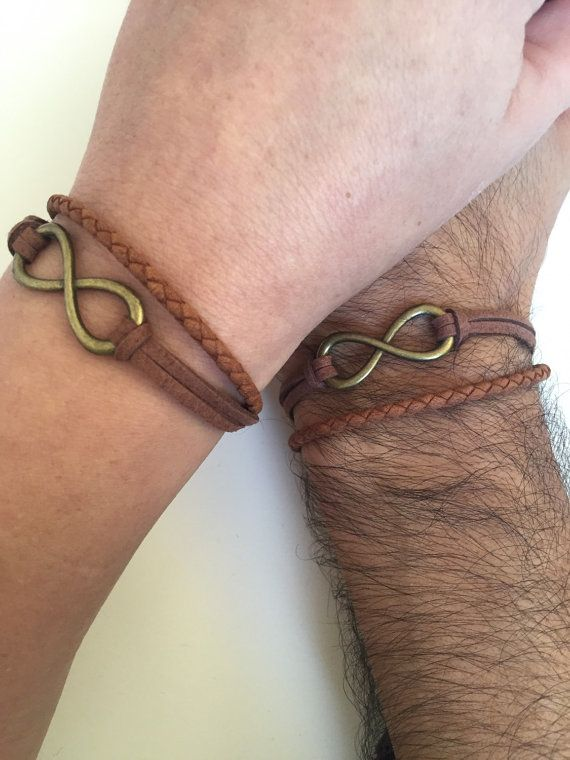 Parejas pulseras 283 - amistad amor brazalete bronce infinito encanto pulsera cuero trenza regalo ajustable novio novia