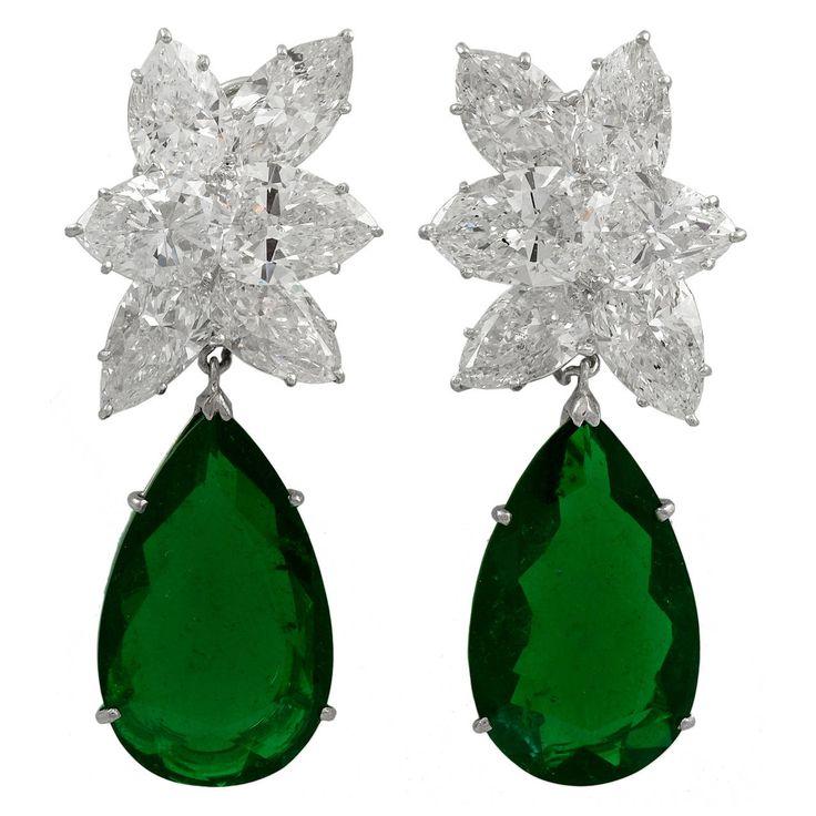 Harry Winston Colombian Emerald Diamond Earrings | From a unique collection of vintage dangle earrings at https://www.1stdibs.com/jewelry/earrings/dangle-earrings/