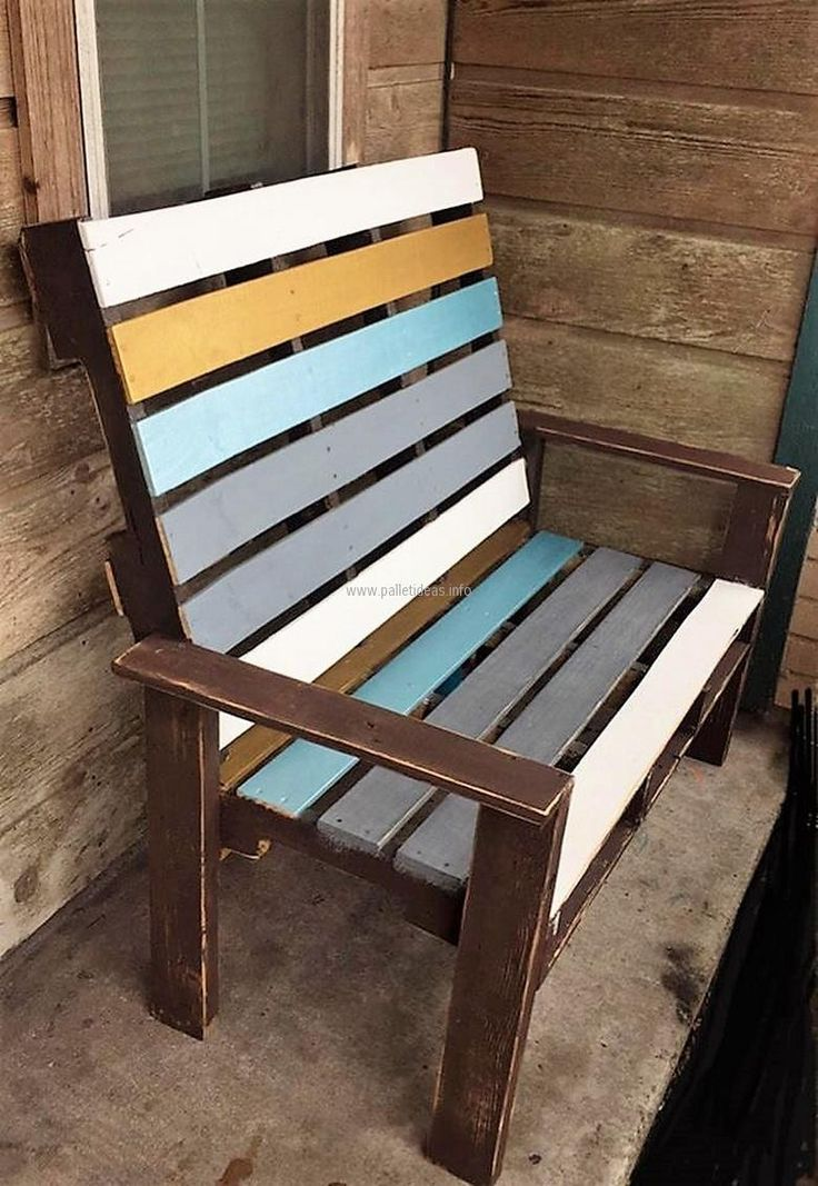 It is a chair with unusual seating area space because it is created with hands at home, the recycled wood pallets chair is painted with different colors to make it look unique and 2 individuals can sit on it because the space is not just for a single individual.