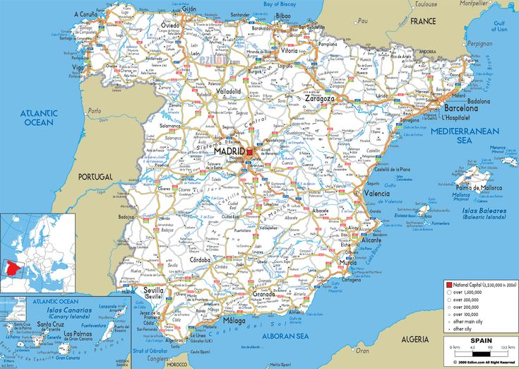 Road Map of Spain - Ezilon Maps