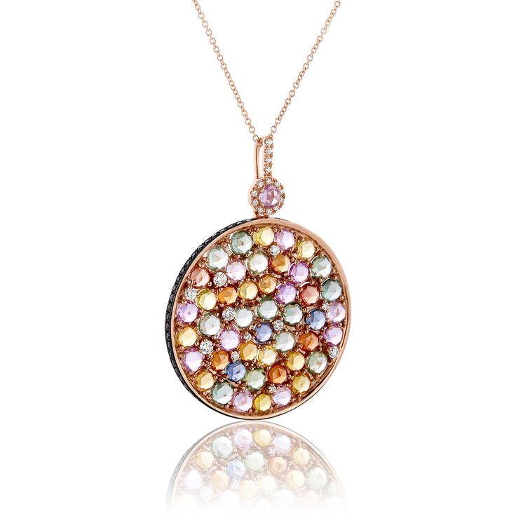 Κοσμήματα :: Μενταγιόν :: Μενταγιόν Diamonds Collection από ροζ χρυσό 18Κ με διαμάντια 0.42ct και ζαφείρια - Li - LA - LO