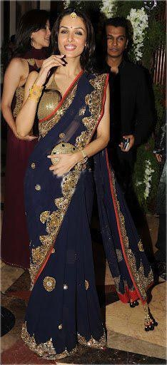 Malaika Arora Khan in Blue Saree #saree #sari #blouse #indian #outfit  #shaadi #bridal #fashion #style #desi #designer #wedding #gorgeous #beautiful