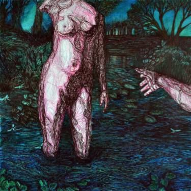 "Saatchi Art Artist Oksana Reznik; Painting, ""evening lake"" #art"