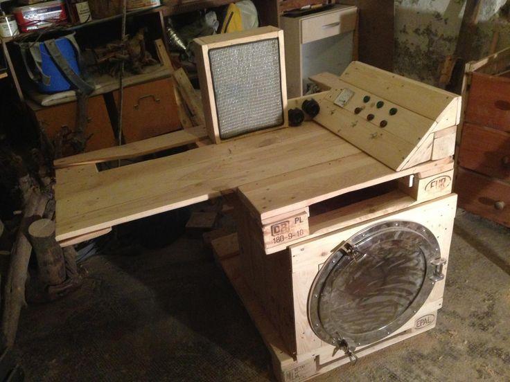 pallet furniture desk. steampunk pallet desk part 2 switchboard and speaker mounted furniture