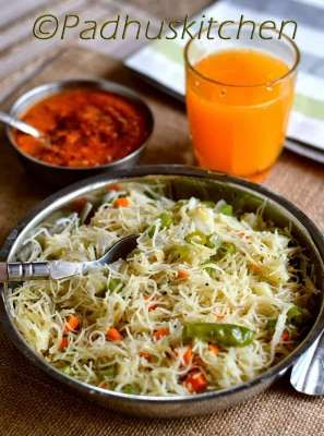Vermicelli Upma/Semiya Upma is an easy breakfast dish and also a great lunch box dish for the kids. We can make a plain upma or enrich it with healthy vegetables.Ingredients:Sewian/Vermicilli raw- 1 cupMustard seeds-1 tspCurry leaves -a fewOnion finely chopped- 2Green chilies chopped 2 (since i don't use red chili powder)Finely chopped mixed vegetables (peas ,carrot,beans,capsicum)(cut and store them the previous night)Salt to tasteLemon juice -1 tbspChopped coriander to garnishMethod: Roast…