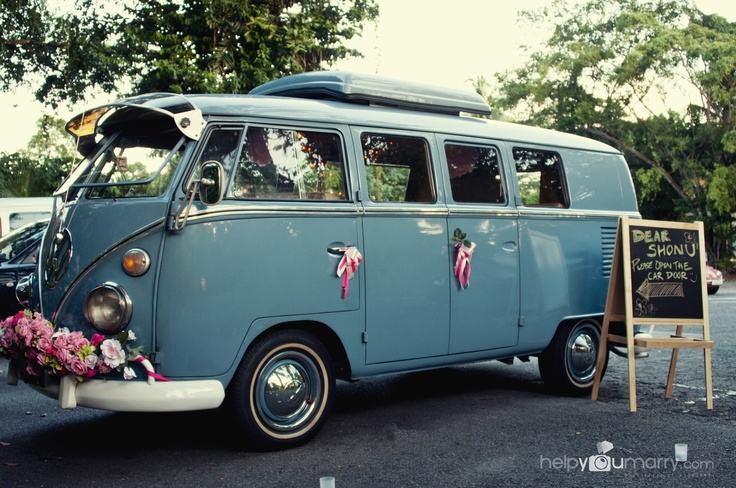 Wedding proposal at a vintage volkswagen Kombi!
