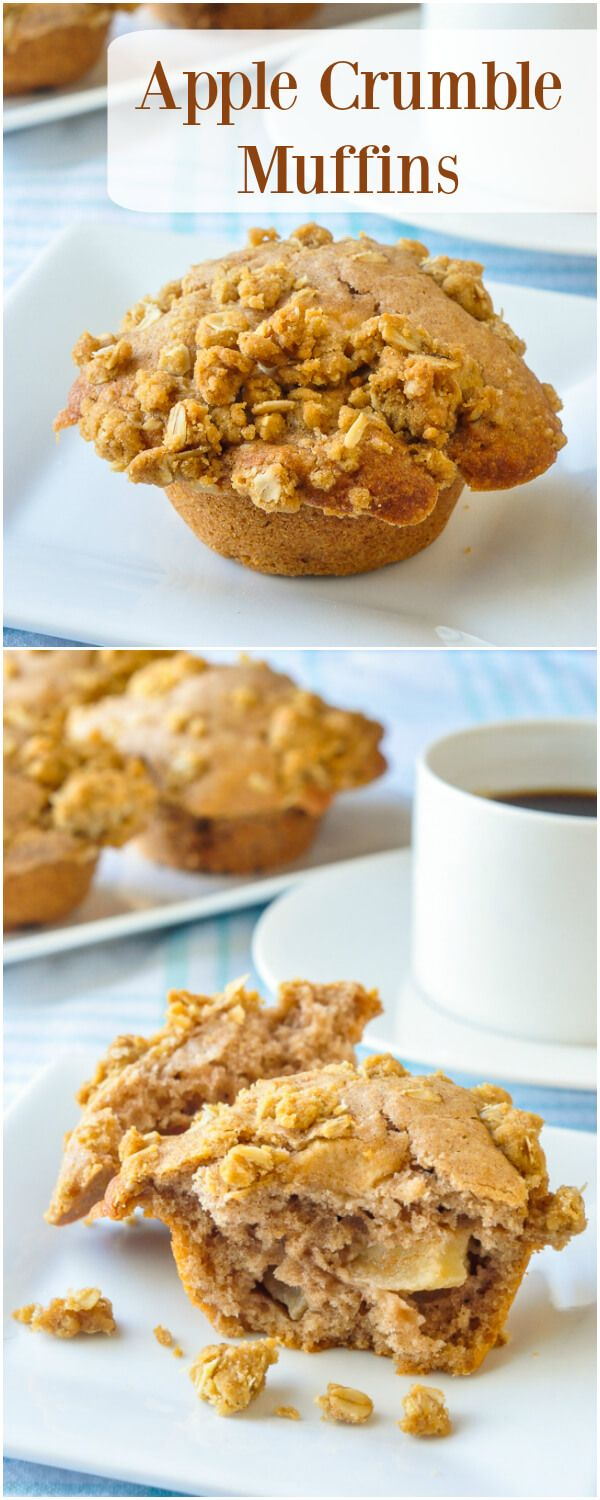 Apple Crumble Muffins - Enjoy the heavenly cinnamon scent as these apple cinnamon muffins bake to perfection. The buttery oatmeal crumble topping makes them even more scrumptious.