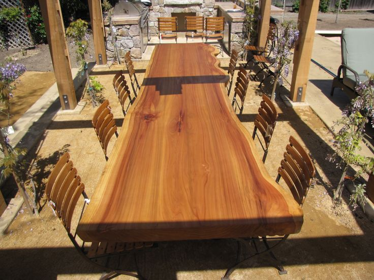outdoor dining table and bench set contemporary chairs sustainable slab eucalyptus wood round