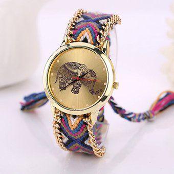 Patrón Elefante Teje Reloj De Pulsera De Cuarzo-Púrpura + Negro