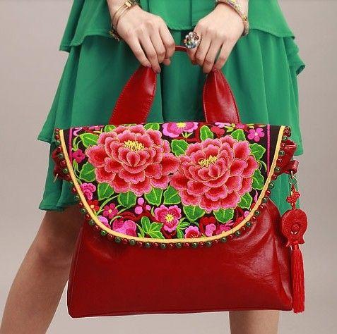 de originele folk stijl borduurwerk met de hand bal zak enkele schoudertas mode zacht leer diagonaal pak in  van  op Aliexpress.com