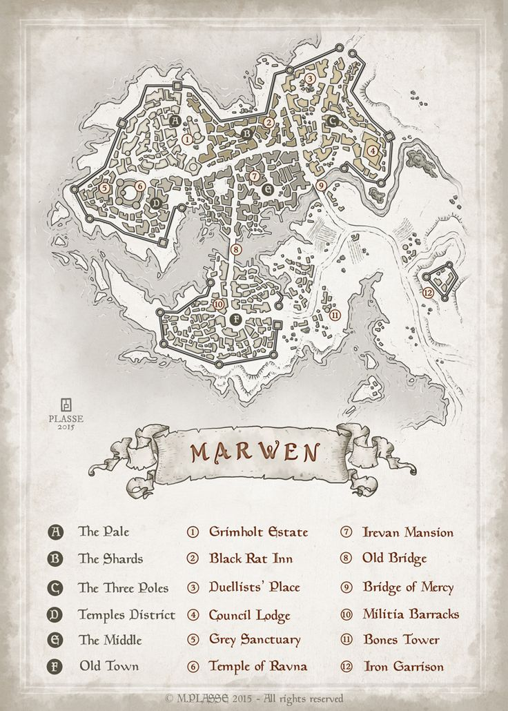 Marven - RPG project commission © M.PLASSE 2015 map cartography   Create your own roleplaying game material w/ RPG Bard: www.rpgbard.com   Writing inspiration for Dungeons and Dragons DND D&D Pathfinder PFRPG Warhammer 40k Star Wars Shadowrun Call of Cthulhu Lord of the Rings LoTR + d20 fantasy science fiction scifi horror design   Not Trusty Sword art: click artwork for source