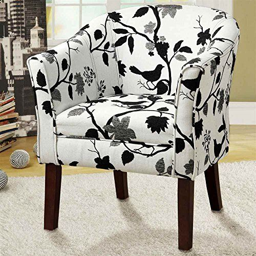 Dark finish wood frame barrel shaped accent side chair with bird and branch upholstery CST http://www.amazon.com/dp/B00IBWAT32/ref=cm_sw_r_pi_dp_4g4Fwb0ETZQPZ