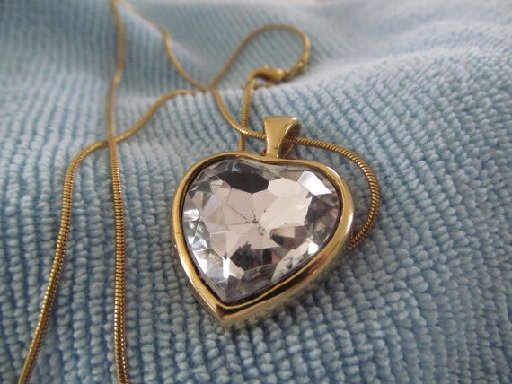 Brillant Crystal Heart Necklace by LaDameauxBijoux on Etsy