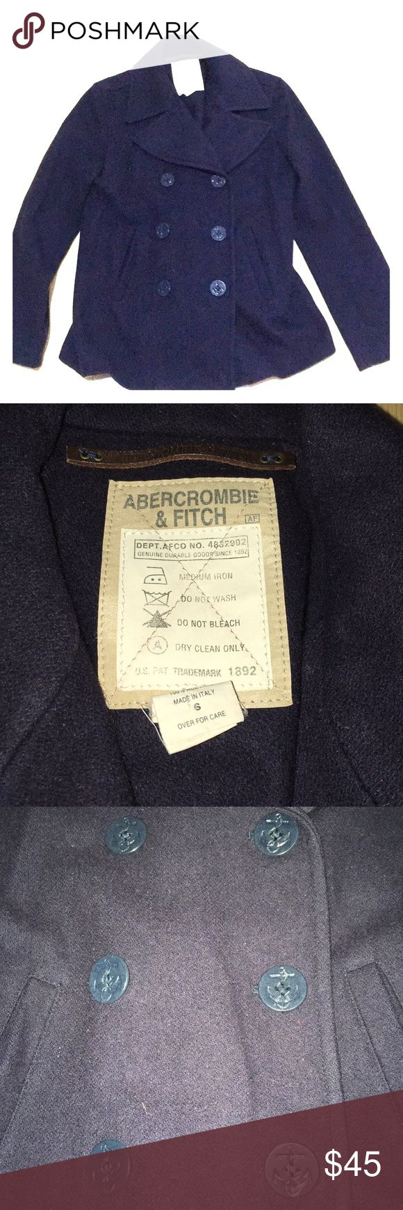 Abercrombie & Fitch Women's Peacoat Excellent condition. Buttons detail: anchors.  Comfortable and warm navy jacket. Lining is excellent. Abercrombie & Fitch Jackets & Coats Pea Coats