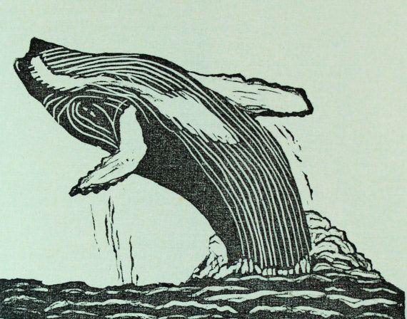 Hump Back Whale Block Printed in Black Tea Towel by BrindyLinens #brindylinens #blockprint #teatowel #hemp #cotton #printed #treatyoself #newfoundland #whale