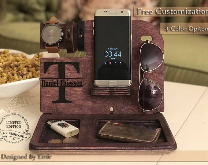 Personalized Docking Station Fathers Day Oak Nightstand