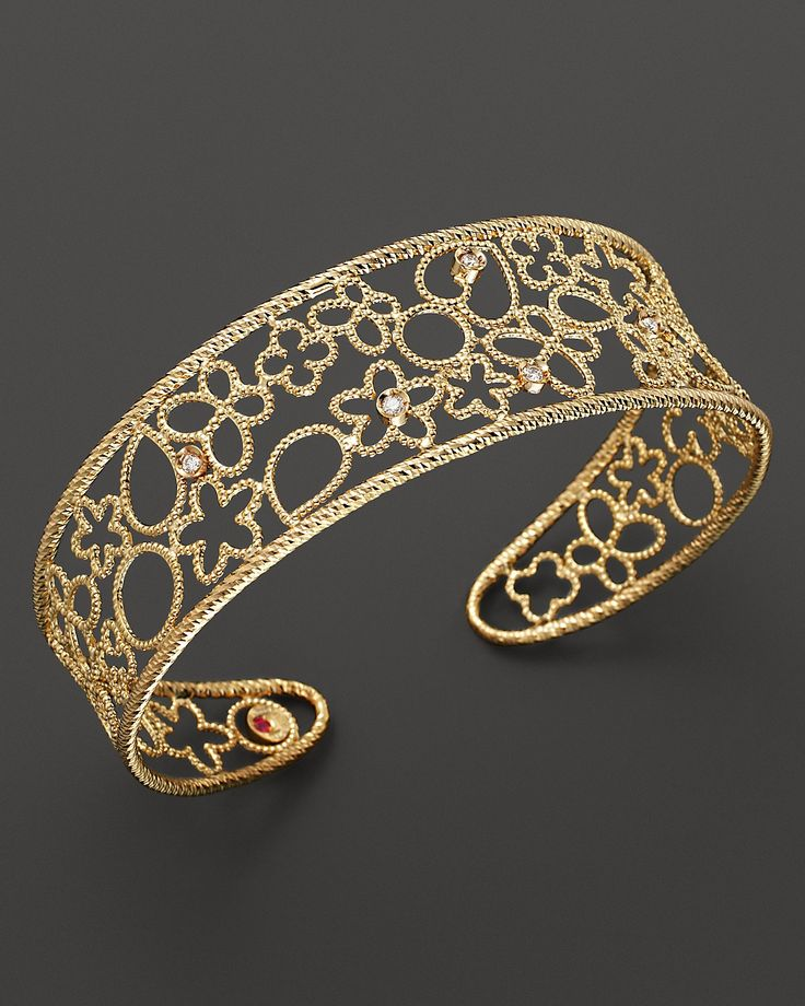 "Roberto Coin ""Mauresque"" 18K Yellow Gold and Diamond Cuff 