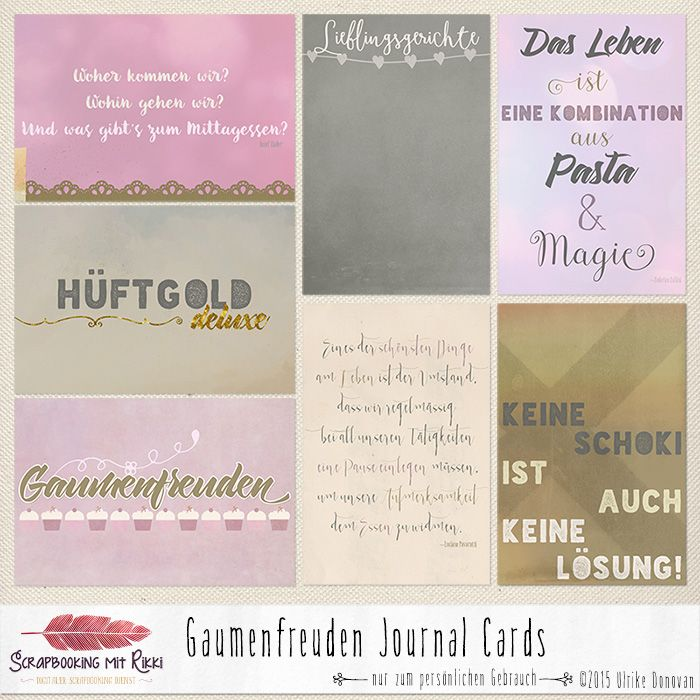 Deutschsprachige Journaling Karten zum Thema Gaumenfreuden