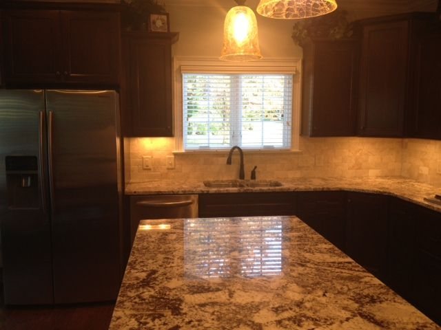 Kitchen Cabinet   HomeCrest Cabinetry, Cherry Tuscan Java Stain, White  Alaskan Granite, By