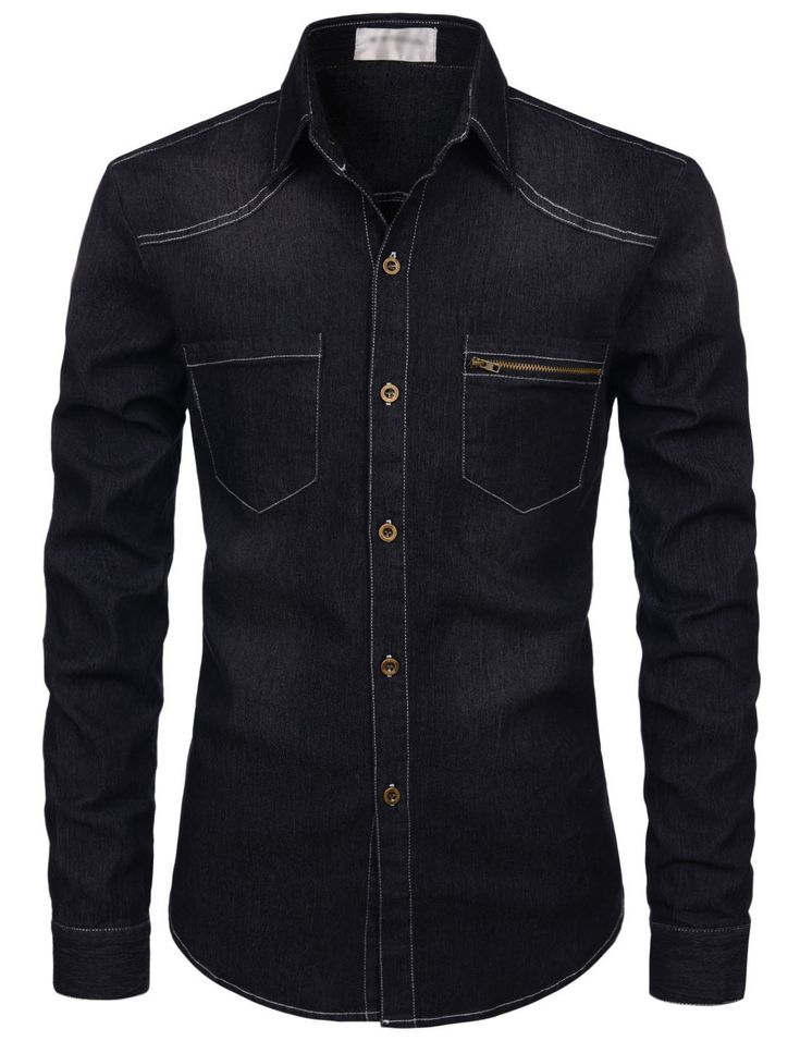 (NKJST681) TheLees Mens Slim Fit Long Sleeve Washing Denim Spandex Shirts