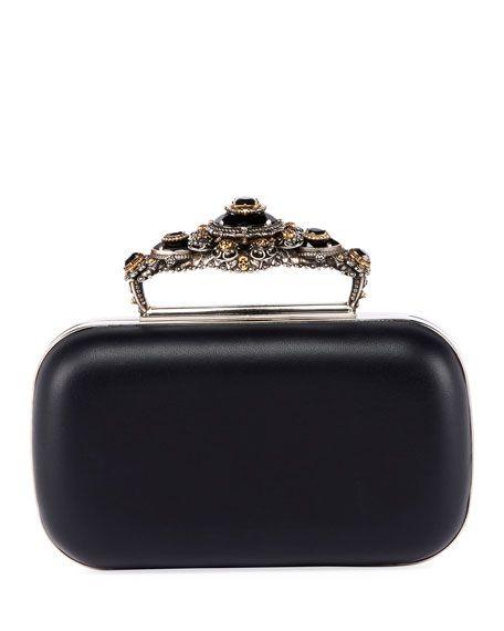 781ee4230453d ALEXANDER MCQUEEN | Box Leather Clutch Bag - Black | $3,050.00 | Alexander  McQueen smooth leather