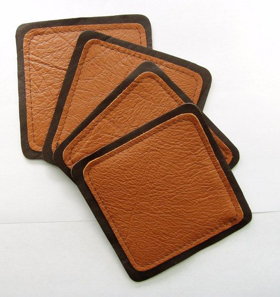 Square Leather Coasters by littlewingsdesigns on Etsy