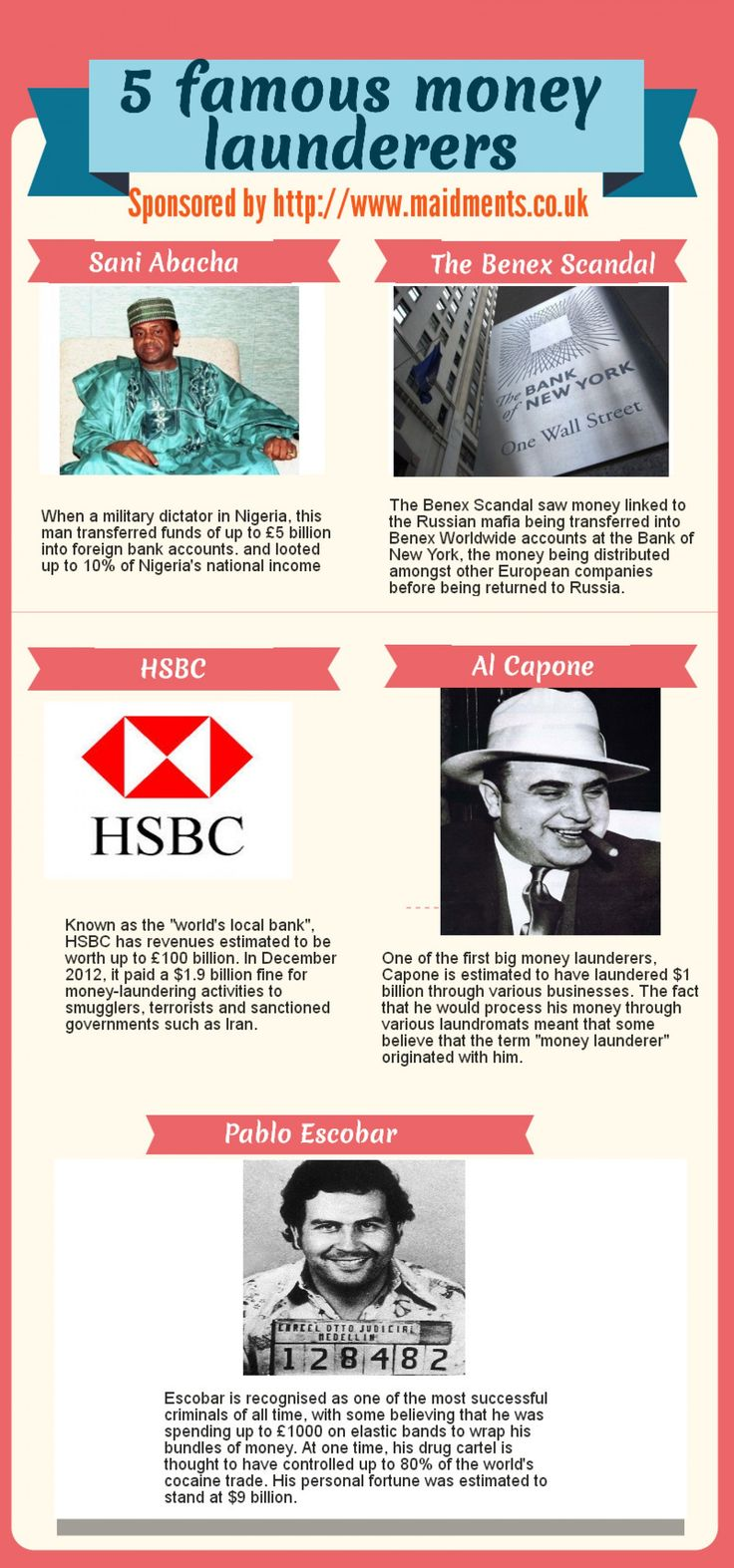 5 of the most famous money laundering cases to date. #infographic #moneylaundering #law