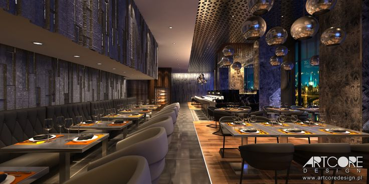 Luksusowe wnętrze restauracji. Więcej na www.artcoredesign.pl .