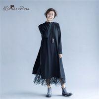 BelineRosa женские Зимние Платья Макси Случайные Черная Водолазка Double Deck Black Dress Для Женщин Fit М ~ 2XL TYW132