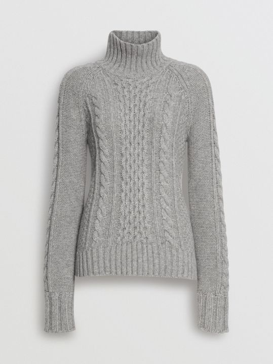 0b6dab8a32f Cable Knit Cashmere Turtleneck Sweater in Mid Grey Melange - Women ...