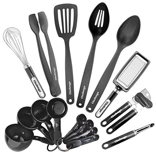 Traditional Kitchen Gadgets and Tools - 16 Piece Home Starter Set By Chefongo (Black), ,