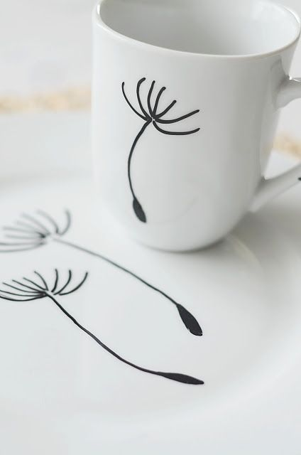use a porcelain paint pen to create your own designs on plates and mugs.  ♥ this!