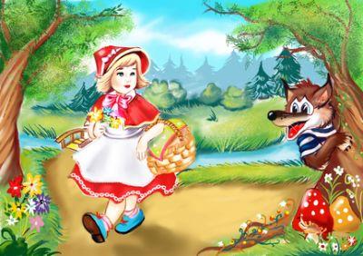 Tablou canvas Scufita Rosie si lupul