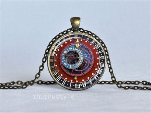 Vintage-Clock-Compass-Cabochon-Glass-Dome-Necklace-Pendant-Chain-Necklace-f5