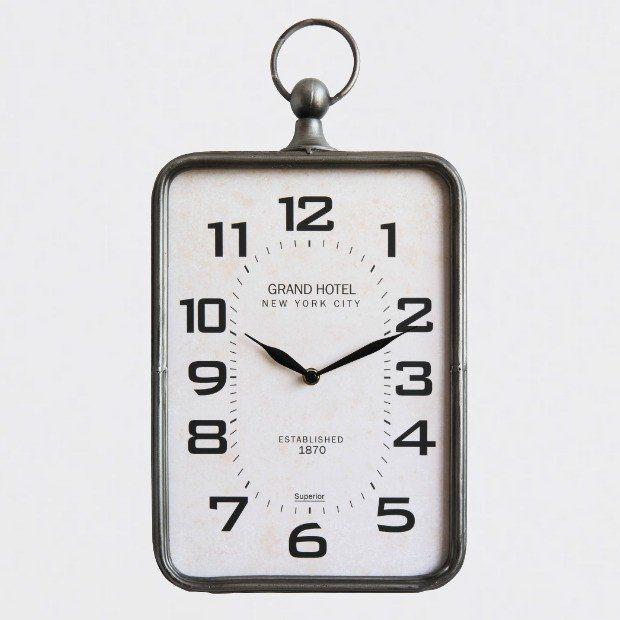 Grand Hotel Rectangular Wall Clock Hanging Clock Wall Clock Metal Wall Clock