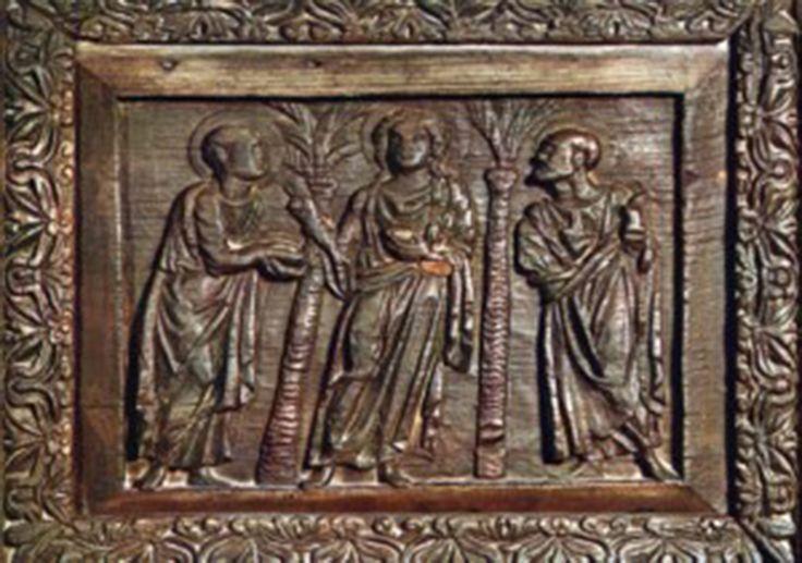 Le porte di Santa Sabina, Roma, Cristo con gli apostoli Pietro e Paolo, Traditio legis, 432
