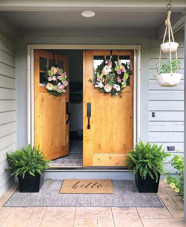 Exterior Entryway Decor Front Porch Ferns Double Door Entryway