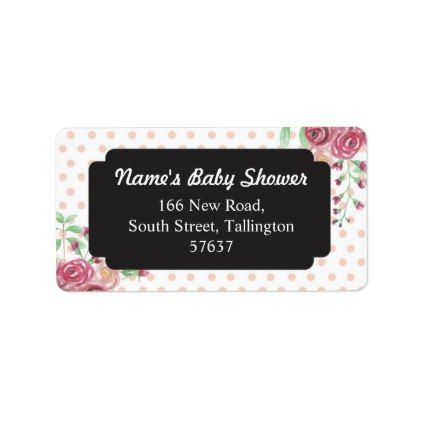 Address Floral Polka Dots Chalk Labels Baby Shower - baby gifts child new born gift idea diy cyo special unique design
