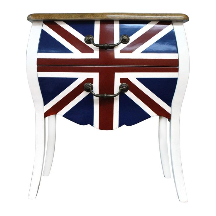 Union Jack Bedside Table $289 Each!  http://www.stoolsandchairs.com.au/union-jack-bedside-table/  #unionjack #bedside #table #kingdom #stools #chairs #furniture