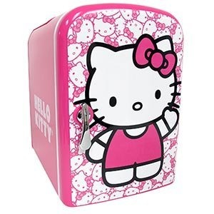 Hello Kitty Personal Mini Fridge, Electric or Car Powered, Holds Up To 6- 12 Oz Cans or 4 - 16 Oz Bottles