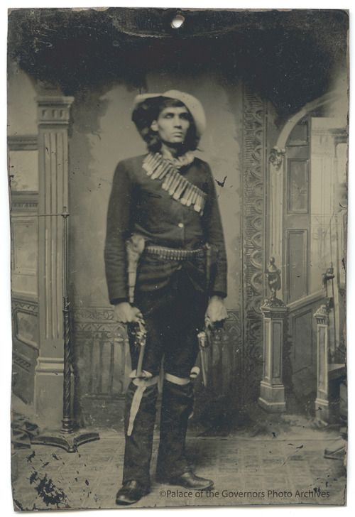 Tintype of James La Muir, French-Chippewa cowboy-scout in Apache campaign Date: 1880?Negative Number 009997