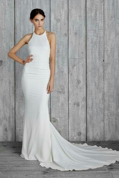 Low back, high cut-away neck, silk modern wedding dress love for Nicole Miller Morgan available at The Bridal Atelier www.thebridalatelier.com.au #sheisthebridalatelierbride