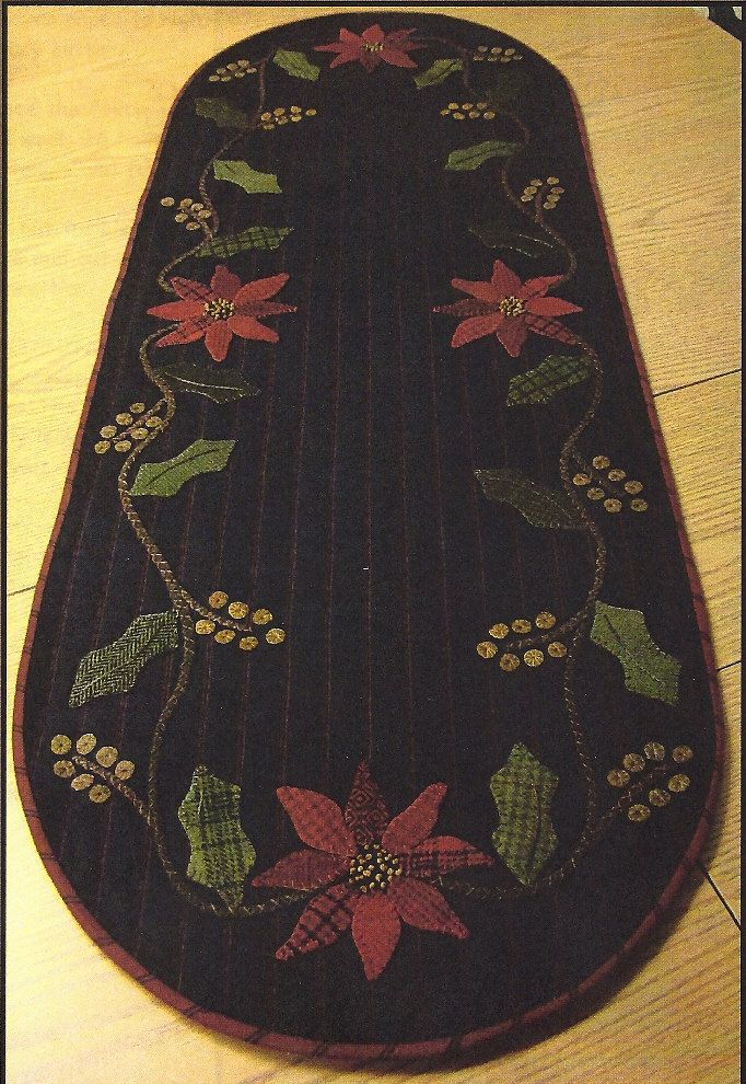 Primitive Folk Art Fabric and Wool Applique Pattern:  HOLLY & POINSETTIA Table Runner via Etsy