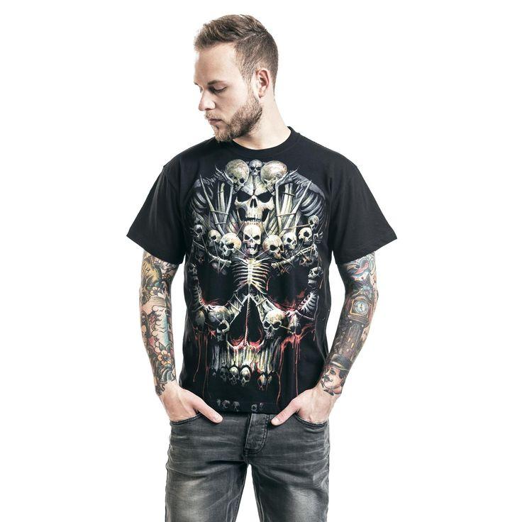 """Classica T-Shirt uomo nero """"Death Bones"""" del brand #Spiral."""