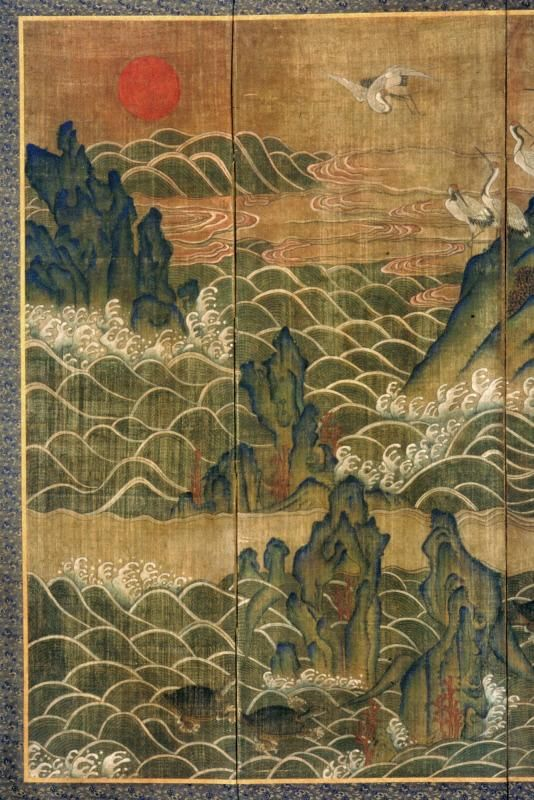 Cranes and Peaches of Immortality - one panel of eight panel screen; Joseon Dynasty