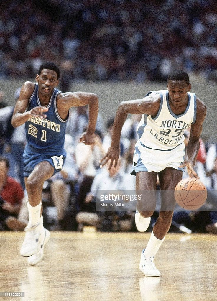 Final Four. North Carolina Michael Jordan (23) in action vs Georgetown Eric 'Sleepy' Floyd (21) at Louisiana Superdome. New Orleans, LA 3/29/1982CREDIT: Manny Millan