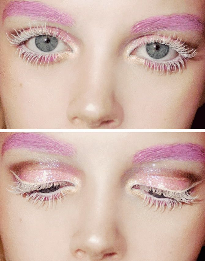 I'm not daring enough but this is beautiful! Lashings of white mascara = Ice Queen (not to mention the PINK EYEBROWS)