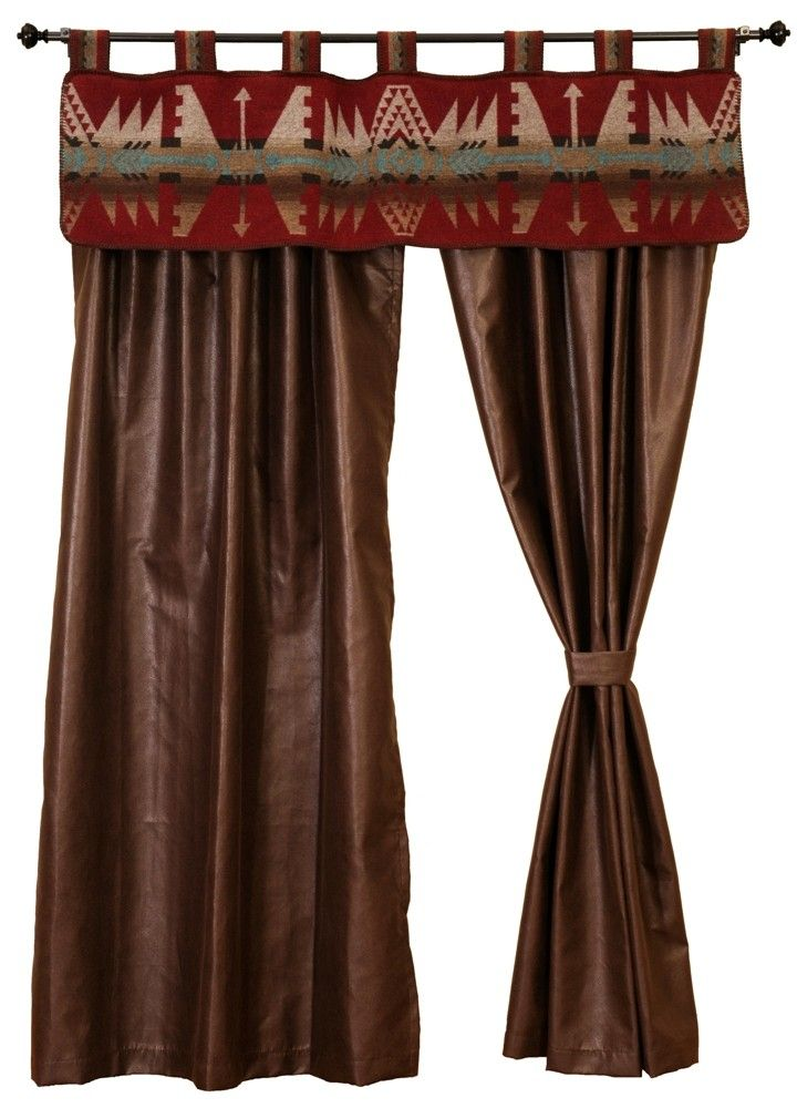 Get the window dressing to match your Yellowstone Bed Ensemble.  Set includes a matching Yellowstone Valance and a pair of rod pocket drapery panels made of a Brownstone Faux Leather.  However, they will work well with any Southwestern or Western themed room. See Details tab.  *American made to order wooded river authorized retailer