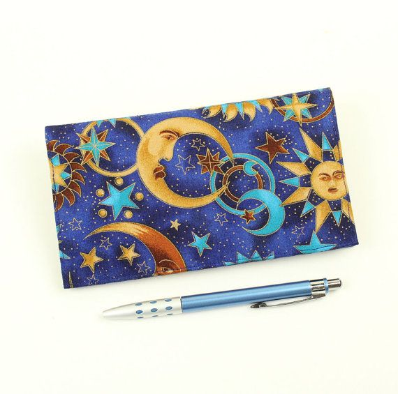Celestial Checkbook Cover for Duplicate Checks by QuiltSewCover